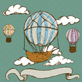 Vintage hot air balloons hand drawn doodle illustration of with banner Royalty Free Stock Photography