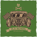 Vintage hot rod t-shirt label design with illustration of custom speed car.