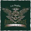 Vintage hot rod t-shirt label design with illustration of driver skull with glasses and wings.