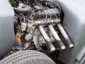 Vintage hotrod six cylinder engine Royalty Free Stock Photo