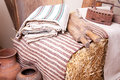 Vintage household items and homespun cloth old Royalty Free Stock Photography