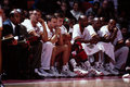 Vintage houston rockets bench view of the image taken from color slide Stock Images