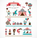 Vintage huge circus collection with carnival, fun