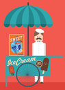 Vintage ice cream booth illustration vector of with vendor seller Royalty Free Stock Photo