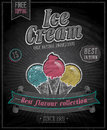 Vintage ice cream poster chalkboard vector illustration Royalty Free Stock Photo