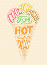 Vintage ice cream poster. Colorful retro typography label design. Vector illustration. Royalty Free Stock Photo