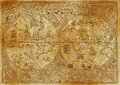 Vintage illustration of ancient atlas map of world on old paper