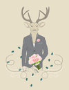 Vintage illustration of a deer in a suit hand drawn dressed up elegant with bouquet roses Stock Images