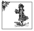 Vintage illustration, frame with rose and little girl with flowers
