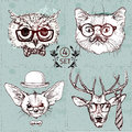 Vintage illustration of hipster animal set with glasses in vector.