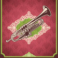 Vintage illustration with trumpet. Royalty Free Stock Photography