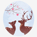 Vintage illustration two deer forest Stock Images