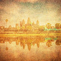 Vintage image of angkor wat cambodia temple Stock Photos