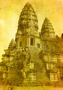 Vintage image of angkor wat ruins Stock Photo