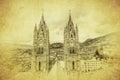 Vintage image of basilica del voto nacional quito ecuador grunge Royalty Free Stock Photo