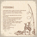 Vintage image of fishing rod and fishes vector dra drawing illustration for text Stock Photo
