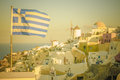 Vintage image of Oia village at Santorini island, Greece Royalty Free Stock Photo