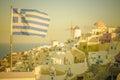 Vintage image of Oia village at Santorini island, Greece Royalty Free Stock Photo