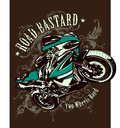 Vintage image of sport motorbike with heraldic patterns vector illustration Stock Photo