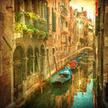 Vintage image of Venetian canals Stock Photo