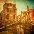 Vintage image of Venetian canals, Italy Royalty Free Stock Photography