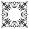Vintage Imperial Baroque Mirror round frame. Vector French Luxury rich intricate ornaments. Victorian Royal Style decor Royalty Free Stock Photo