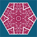 Vintage indian ornament violet mandala on blue Royalty Free Stock Photo