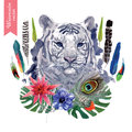Vintage indian style tiger head illustration with hand drawn vector watercolor Stock Images
