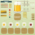 Vintage infographics set - beer icons Stock Photo