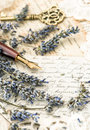 Vintage ink pen, key, lavender flowers and old love letters Royalty Free Stock Photo