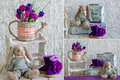 Vintage interior decor details with a handmade toy and purple flowers Royalty Free Stock Photography