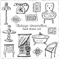 Vintage interior decoration Hand drawn doodle set. Sketches. Vector illustration for design and packages product.