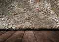 Vintage interior of old stone wall and wooden floor as background for a design Royalty Free Stock Photos