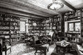 Vintage interior of personal bibliotek, calm and comfort indoor Royalty Free Stock Photo