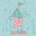 Vintage Invitation Card with cute Cupcake Stock Image