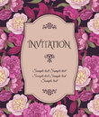 Vintage invitation card with hand drawn pink and white peonies, red lilies, can be used for baby shower, wedding, birthday and oth Royalty Free Stock Photo
