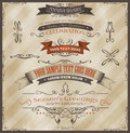 Vintage invitation and seasons greetings illustration of grunge banners ribbons for documents background holidays celebration with Royalty Free Stock Photo