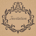 Vintage Invitation template. Frame decorated with decorative lea