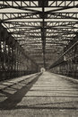 Vintage iron truss bridge photo of old czech republic Stock Image
