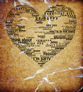 Vintage isolated love heart words shape textured Stock Photography