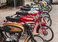 Vintage italian mopeds exposed at the motor festival festa de mutor on june in pezzolo di russi ra italy Royalty Free Stock Photography