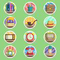 Vintage item flat icon the vector set Stock Photo