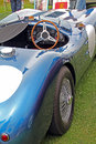 Vintage jaguar sports racing car photo of a high performance in blue metallic paintwork with open top Royalty Free Stock Photos
