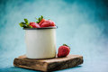 Vintage jat with fresh strawberries Royalty Free Stock Photo