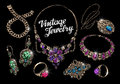Vintage jewelry with gems. Hand-drawn gold and silver vector illustration Royalty Free Stock Photo