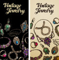 Vintage jewelry. Precious metal, gold, silver and gems. Vector illustration Royalty Free Stock Photo