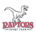 Vintage Jurassic raptor Logo. Dino sport mascot insignia badge design. College Team t-shirt illustration concept Royalty Free Stock Photo
