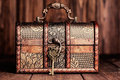 Vintage key and old treasure chest Royalty Free Stock Photo