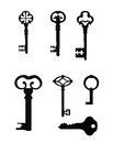 Vintage key set retro silhouette collection Royalty Free Stock Image