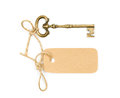 Vintage key with a tag Royalty Free Stock Photo